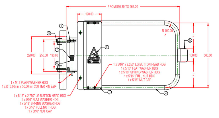 Technical Drawing of Industrial Safety Gate