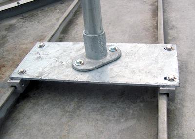 Close Up of Standing Seam Railing Base