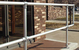 Pedestrian Guardrail to protect entrances, exits, curbs and drop offs